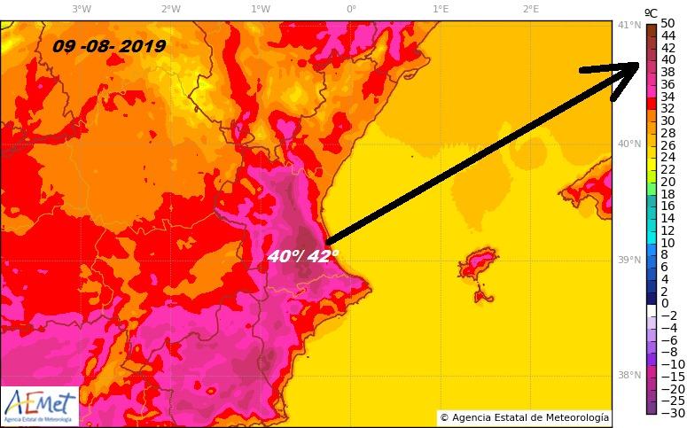 Mapa oratge 9 agost 19 - Alzira Radio notícies d'Alzira