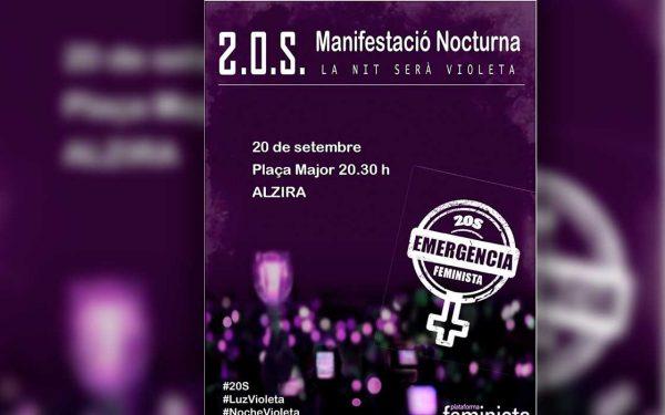 """Alzira se suma a la manifestació nocturna """"Nit Violeta"""""""