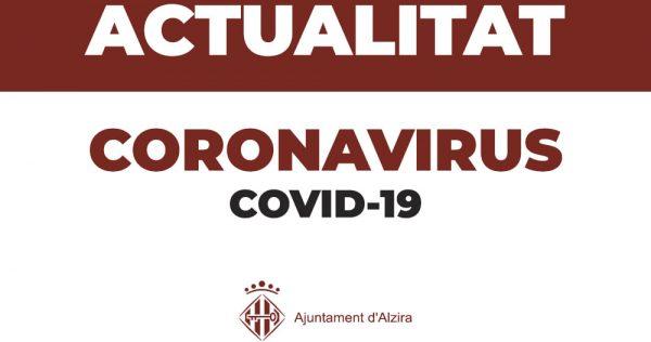 Els 33 casos actius de Covid-19 confirmen la tendència a la baixa en Alzira